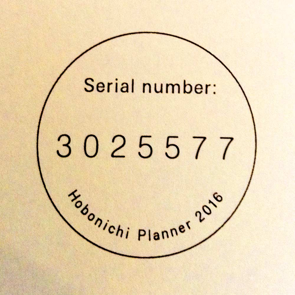 Hobonichi Serial Number